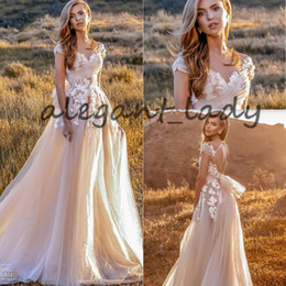 Long taiL skirts online shopping - Blush Champagne Country Wedding Dresses Crystal Design Lace Floral Keyhole Back Fairy Tail Bow Bohemian Beach Bridal Wedding Gown