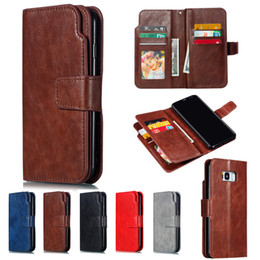 a6 phone NZ - Book Phone Case Leather 9 Card Slots for Samsung Galaxy S7 Edge S8 S9 Plus A3 A5 2016 2017 A6 A8 Plus 2018 Flip Wallet Shell