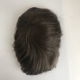 Back Hair Men Australia - Full Pu Men Toupee Natural Looking Indian Remy Hair Clear Poly Back Human Men Hair Toupee