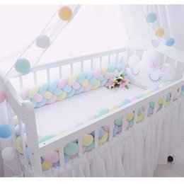 Bedding protectors online shopping - 300CM length baby crib Protector knot Baby Bed Bumper Weaving Plush Crib cushion For Newborns four tied rope bed bumper