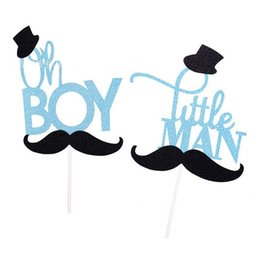 $enCountryForm.capitalKeyWord NZ - cartoon glitter mustache oh boy  little man cake topper birthday cake decoration baby shower kids party birthday favor supplies