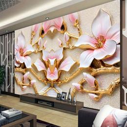 Art Paper Rolls Australia - Custom Wall Mural Wallpaper For Walls Roll 3D Relief Flower TV Background Wall Papers Home Decor Living Room Modern Art Painting