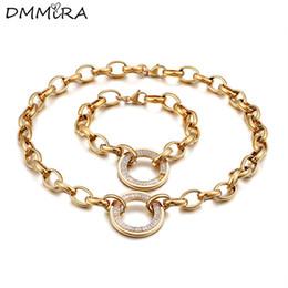 Vente en gros Mode Femmes Comme Argent Or En Acier Inoxydable Rond Creux Cricle Cristal Hook-ups Lien Chaîne Bracelets Collier Ensembles de Bijoux
