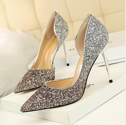 d5c894e4e New Brand Designer Gold Silver Glitter High Heels 9.5cm Womens Sexy Stiletto  Crystal Banquet Wedding Dress Shoes Pointed Toe Sandals Pumps