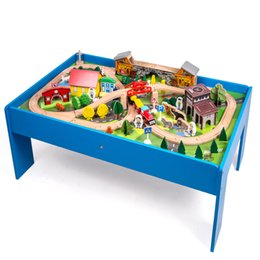 Building Wooden Car Australia - High quality 108pcs Train track building wooden table set with cartoon truck cars Forest animal traffic scene simulation Kid toy