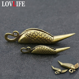 paper chains wholesale Australia - Pure Brass Small Fish Knife Keychain Pendants Vintage Copper Paper Cutter Key Chains Car Key Rings Hanging Trinket Creative Gift