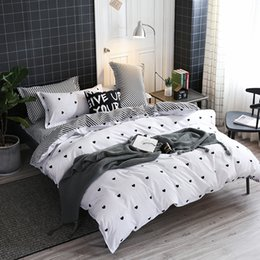 Black White Rose Bedding Australia - Home Textile love Simple White Bedding Sets Kid Teen Boys Duvet Cover Pillowcase Bed Sheet Girl Adult twin queen king Bedclothes