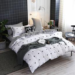 $enCountryForm.capitalKeyWord Australia - Home Textile love Simple White Bedding Sets Kid Teen Boys Duvet Cover Pillowcase Bed Sheet Girl Adult twin queen king Bedclothes