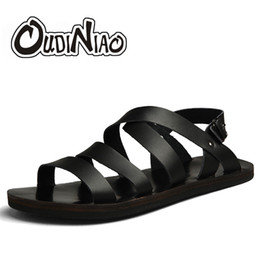 Discount mens narrow shoes - OUDINIAO Mens Shoes Pig Leather Men Sandals Summer Men Shoes Beach Breathable Buckle Gladiator Sandals For Men Zapatilla