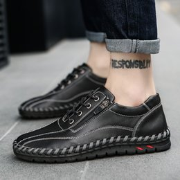 Discount men mocassins shoes - Leather Casual Men Shoes Walking Sneakers Men Casual Shoe Lace Up Mocassins Black Loafers HH-308