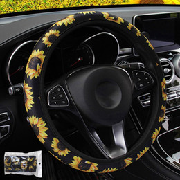 Sunflower Floral Print Steering Wheel Cover Car Styling Auto Non Slip Universal Stretchy Neoprene Interior Accessories
