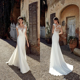 Color wedding dress designers online shopping - 2019 New Designer Beach Wedding Dresses Sexy Lace Applique Sheer Neck Floor Length Bohemian Cheap Wedding Dress Bridal Gowns
