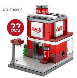 Block Stores Australia - Mini World Little Shop Series Street View Building Mini blocks 77PCS Puzzle Toys Drinking Store Gifts for Kids