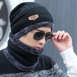$enCountryForm.capitalKeyWord NZ - Neck warmer knitted hat scarf set fur Wool Lining Thick Warm Knit beanies balaclava Winter Hat For men women Cap Skullies bonnet