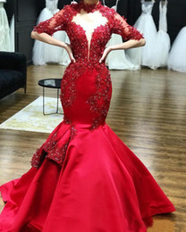 Hourglass dresses online shopping - 2019 Red Satin High Neck Lace Appliques Mermaid Prom Dresses Half Sleeves Beaded Formal Evening Gowns Party Pageant Dresses Custom Made