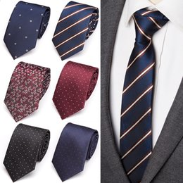 $enCountryForm.capitalKeyWord Australia - Men Ties Luxury Wedding Jacquard Tie Gift for Mens Fashion Flower Skinny Stripe 7cm Neckties Business Man Dress Shirt