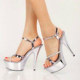 $enCountryForm.capitalKeyWord Australia - 15cm silver prom dress shoes woman designer ultra high heel shoes summer slides bridal wedding shoes size 34 to 40