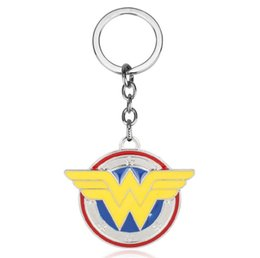 Superhero Keychains Canada - Wholesale Superhero Wonder Woman Logo Alloy Pendant Keyring Cool Key Chain High Quality Gift For Fans Movie Jewelry Keychain