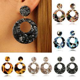 Gold Acrylic Pendants NZ - IKAXON Trendy Gold Acrylic Earrings for Women Round White Acetic Acid Pendant Dangle Earrings Fashion Jewelry Femme Jewelry