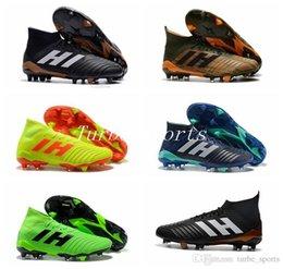 Sock Packs Australia - Predator 18.1 Skystalker Pack FIRM GROUND FG Soccer Cleats Socks Bright Orange Core Black Laceup Outdoor Football Shoes size 39-45
