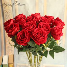 colors silk NZ - Hotel 6pcs lot decorative artificial flowers House Decorative silk Rose Flowers for Wedding Party Decoration 6 colors decor