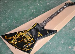 hand carved guitar bodies UK - 6-String Electric Guitar with Carved Gold Color Lines on Body,Gold Hardware,Special Fret Marks Inlay and can be Customized