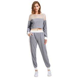 Discount ladies transparent pants - Women Fashion O Neck Long Sleeve Net Patchwork Transparent Suit Daily casual 2 piece set Ladies tracksuit Set