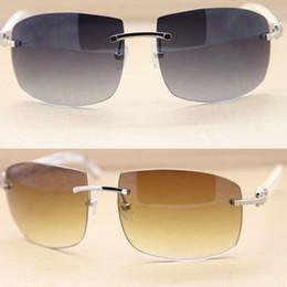 12e58fcc3c white buffalo sunglasses 2018 - Brand White Buffalo Horn Glasses Sunglasses  Fashion Rimless Sun Glasses Natural