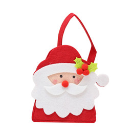 cloth christmas gift bags NZ - 1 Pc Christmas Sweets Bag Felt Cloth Portable Cartoon Xmas Handbags Gift Bags for Decoration Home Christams Party (Santa Claus)