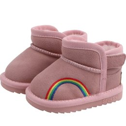 rainbow boots shoes NZ - Winter new Rainbow Toddler Snow Boots baby shoes infant shoes baby boots boys boot girls snow boot toddler girl shoes retail A8662