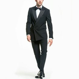 ClassiC suit designs for men online shopping - Black Men Tuxedo Grooms Suits for Wedding Prom Party Wide Peak Design Best Man Outfit Groomsmen Attire Piece Terno Masculino Costume Homme