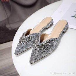4ff6884e1b Thick Heels Nude Shoe Australia - Women baotou slippers are made of genuine  with thick diamonds