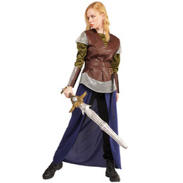 Wholesale tv sales online – design Hot Sale Female Warrior Costumes Womens High Quality Cool Warrior Fancy Dress Costume For Halloween Purim Holiday Party Costumes