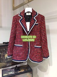 Tweed Suits Blazers Australia - Women's Tweed Houndstooth Lapel Neck Jackets With Leopard Buttons Coat Girls High End Custom Tweed Long Sleeve Blazer Suits