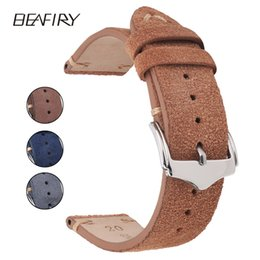 Wholesale Beafiry Genuine Leather Watch Band mm mm mm Dark Brown Dark Blue Light Brown Grey Suede Leather Watch Straps T190620