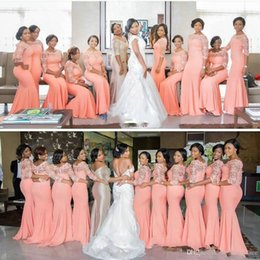 coral trumpet bridesmaid dresses NZ - Arabic African Coral Long Bridesmaid Dresses with 3 4 Sleeves Plus Size Lace Mermaid Party Dresses Beautiful Bridesmaid Gowns