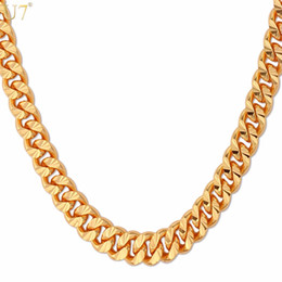 6mm Cuban Chain Australia - U7 Curb Chain Necklace Hollow Miami Cuban Link Chain For Men Gift 6mm Long Choker Wholesale Gold Color Hip Hop Jewelry N383