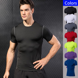 wearing compression shorts NZ - Men Fitness Gym Compression T-shirt Running Cycling Sports Outdoor Wear Short-sleeved Quick Dry T-shirt