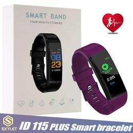 Venta al por mayor de ID115 Plus Pulsera inteligente Rastreador de ejercicios Reloj inteligente Pulsera inteligente de ritmo cardíaco Pulsera inteligente para teléfonos celulares Apple Android