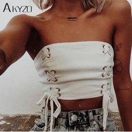 $enCountryForm.capitalKeyWord NZ - Akyzo Sexy Lace Up Strapless Tank Top Fashion White Cropped Backless Nightclub Party Wear Top Y19042801