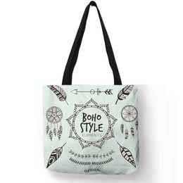 Women Diapers NZ - Bohemian Dream Catcher Print Lady Handbag Tote Bag Casual School Shoulder Bags Reusable Shopping Diaper Bags Women