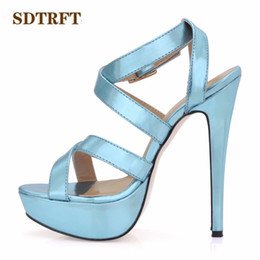 sliver shoes UK - wholesale zapatos mujer Summer Stiletto sexy platforms sandals 14cm Thin Heels Cross Strap shoes woman Elegant Gold Sliver pumps