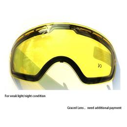 Ski Goggles Anti Fog Glasses Australia - Yellow Graced Magnetic Lens For Ski Goggles Anti-fog UV400 Spherical Ski Glasses Night Skiing Lens