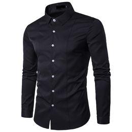 Solid Black Shirt For Men Australia - High Quality Wedding Man Dress Shirt Solid Slim Fit Bridegroom Shirts for Men Camisas Masculinas Hombre Blusas