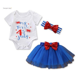 Discount wholesale 4th july headbands - My First 4th of July Newborn Romper Bodysuit Sequins Bow TUTU Skirt Headbands American Independence Day Festival Girl Dr