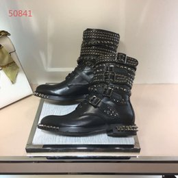 Genuine Leather Cap NZ - Luxury brand new style women flat boots genuine leather with rivet fashionable buckle best quality women shoes 34-40
