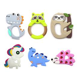 teethers 2019 - 24 Designs Baby Silicone Teethers BPA Free Teething Toy Dinosaur Dog Cactus Elephant unicorn ice cream Flamingo sloth Ba