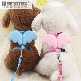 cat collar cute Australia - eash harness Pet Supplies Small Dog Puppy Cat Basic Lead Leashes Harness Collar Cute Angel Wings Nylon Fabric Solid Adjustable 5Colors 2S...