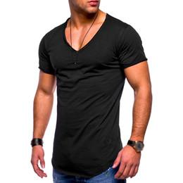 dde84298 Men V-neck Blouse T-shirt Slim Fit Casual Fabala Tops Muscle Tee Short  Sleeve Summer Ripped