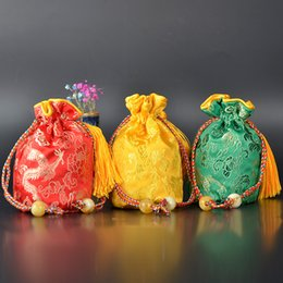 $enCountryForm.capitalKeyWord Australia - Round Bottom Chinese Silk Brocade Bag Tassel Drawstring Gift Packaging Bag Satin Jewelry Pouch Small Damask Christmas Bags 6x12cm 1pcs